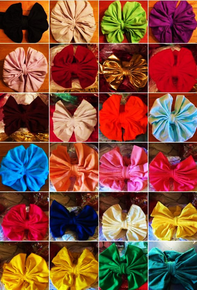Collage of 24 messy bows in various colors
