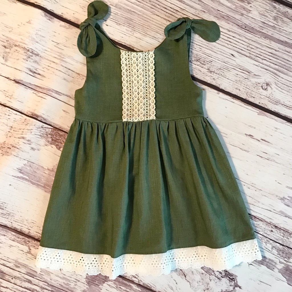 olive green tie shoulder dress