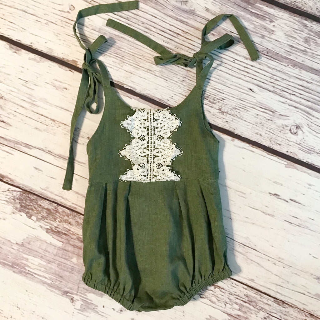 Olive green tie shoulder baby bubble romper