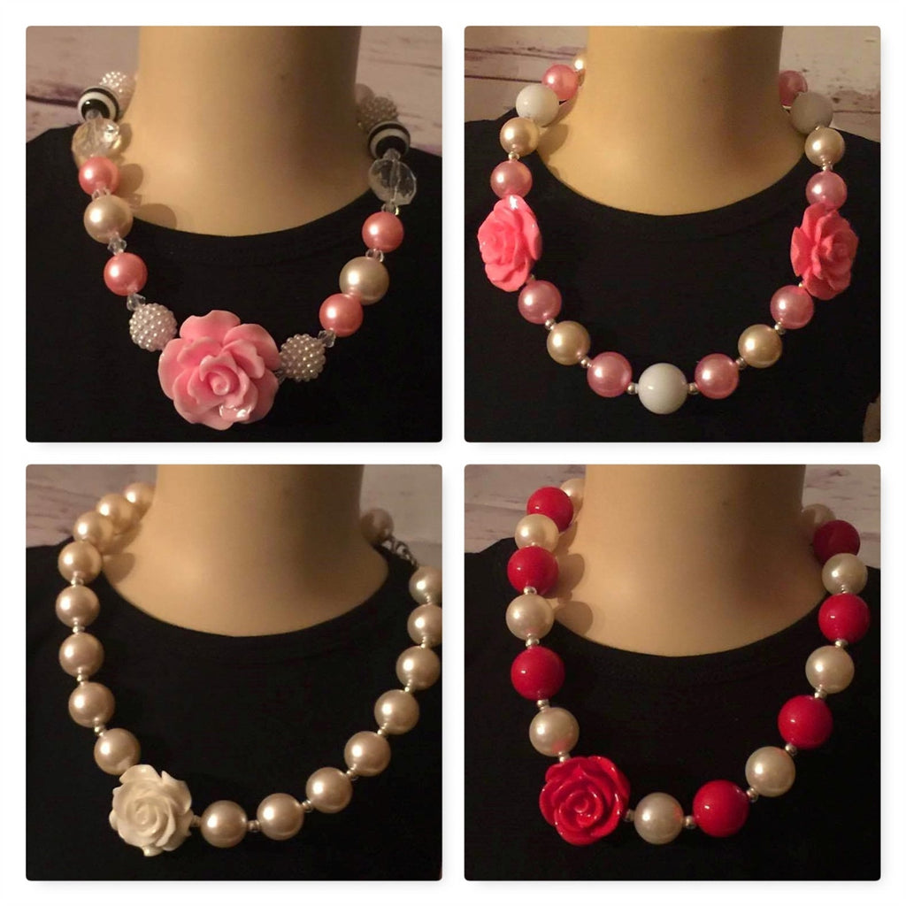 Collage of chunky beads, pearls, and roses necklaces in multiple colors