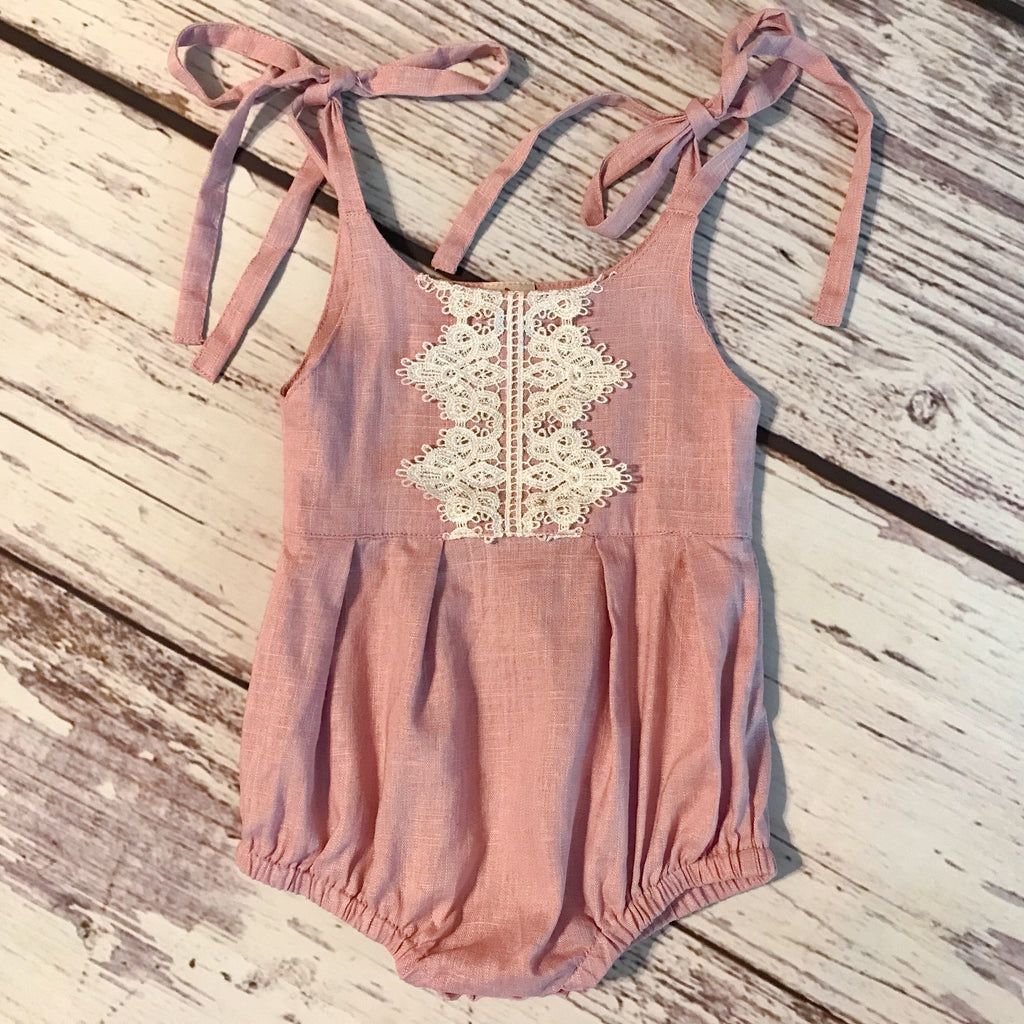Boho bubble with ivory cotton lace and tie shoulders in dusty pink