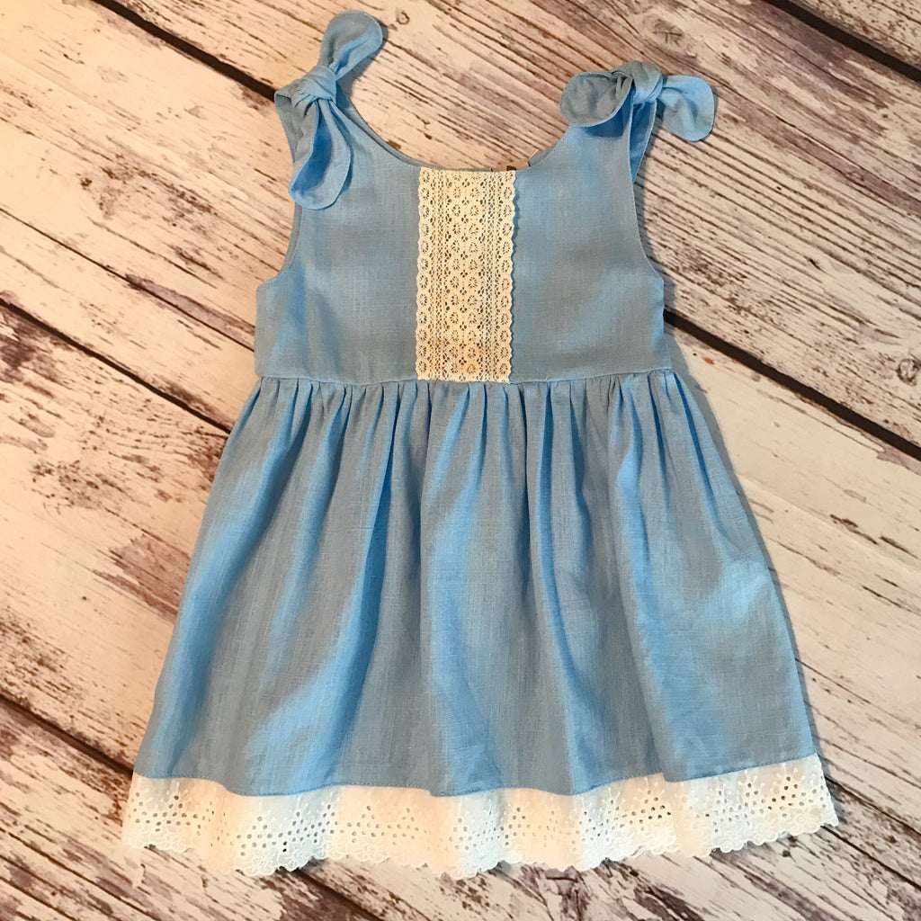 Light blue linen dress with detachable tie shoulders