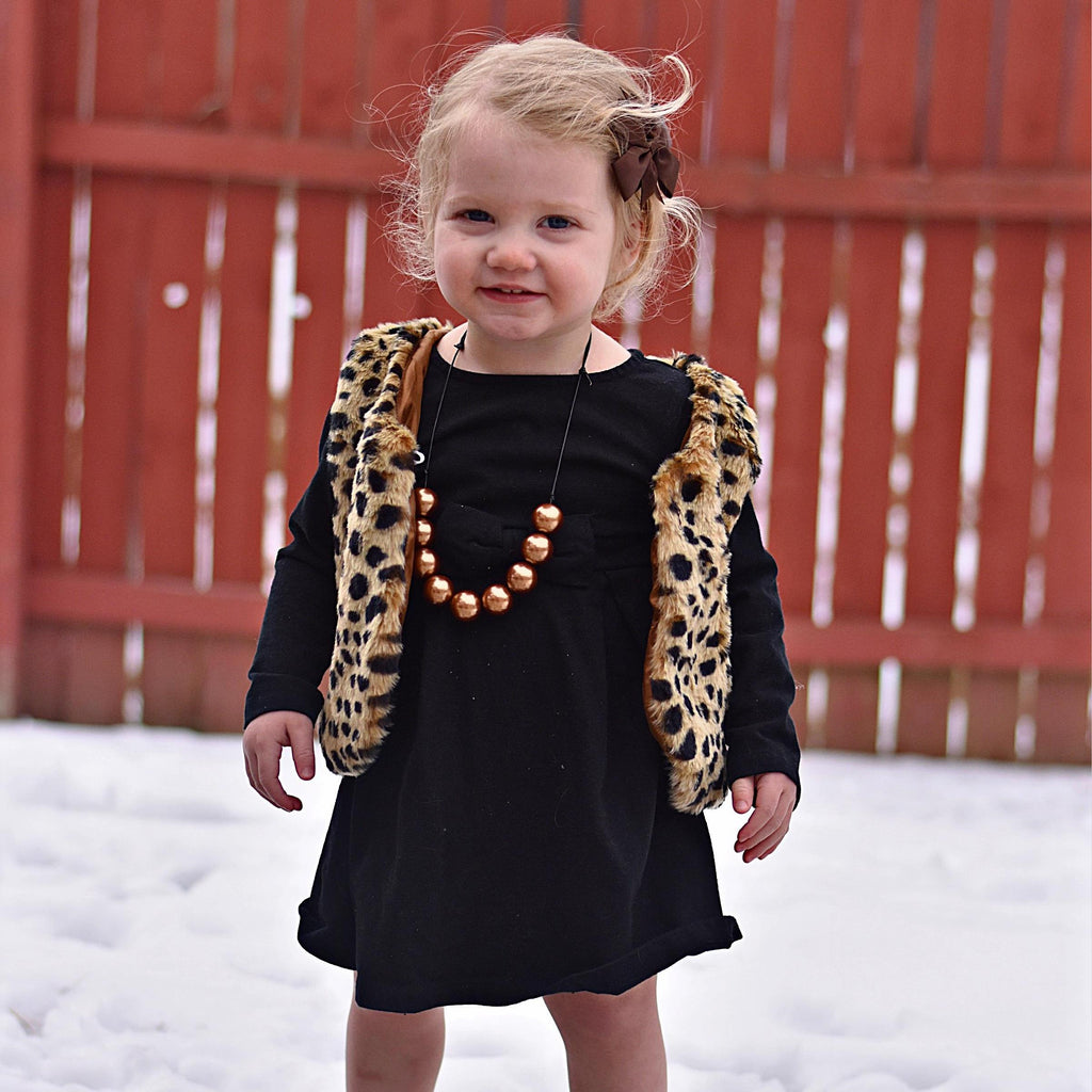 Cheetah Print Faux Fur Vests
