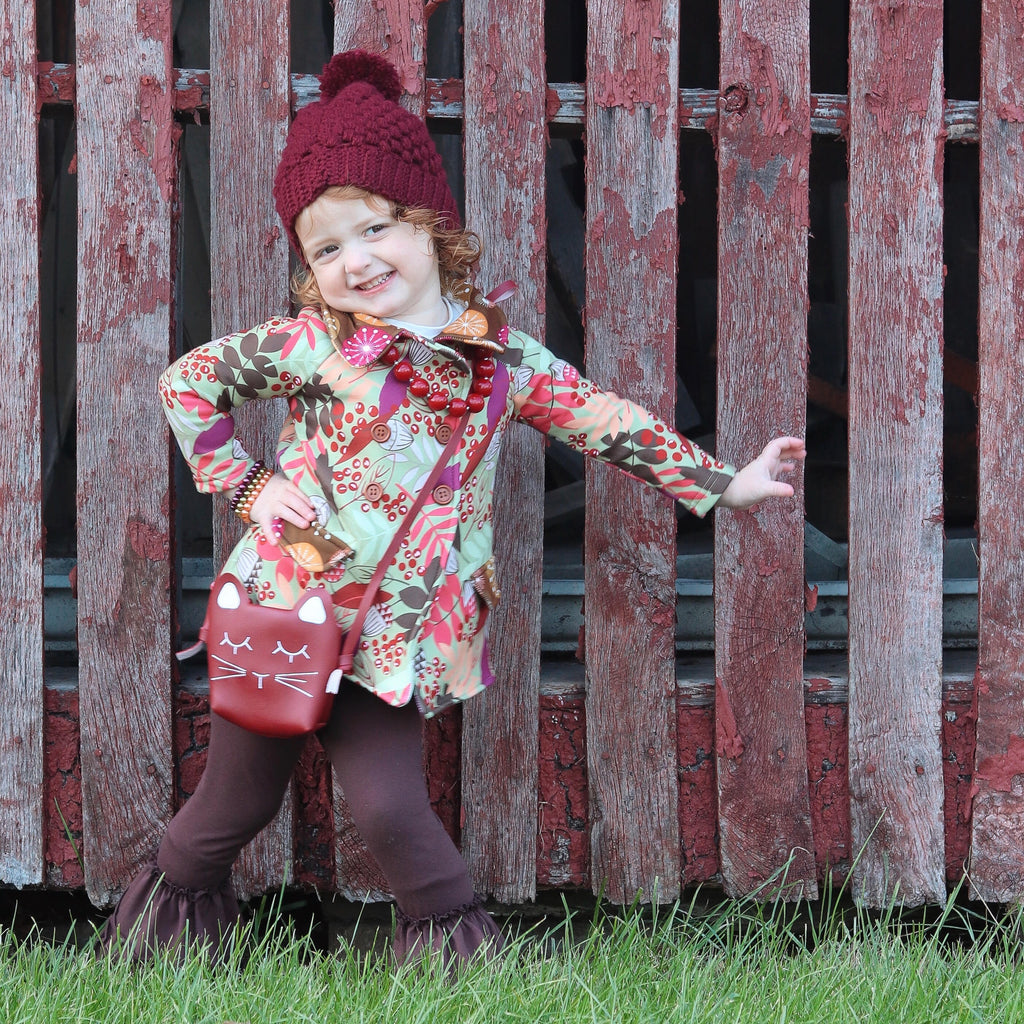 Polar Fleece Peacoat - Acorns & Berries Print