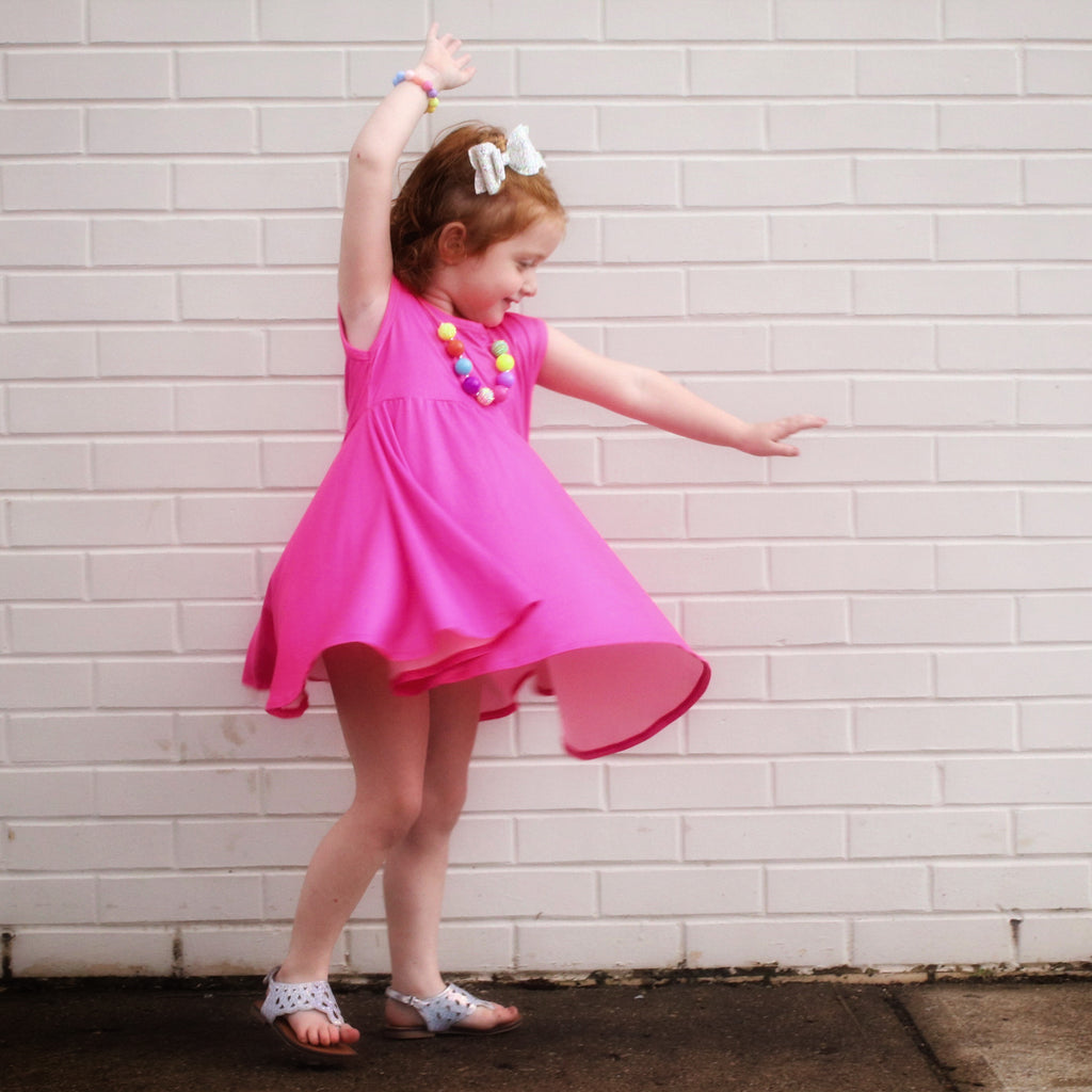Watch Me Glow! Neon Pink Twirl Tank Dress