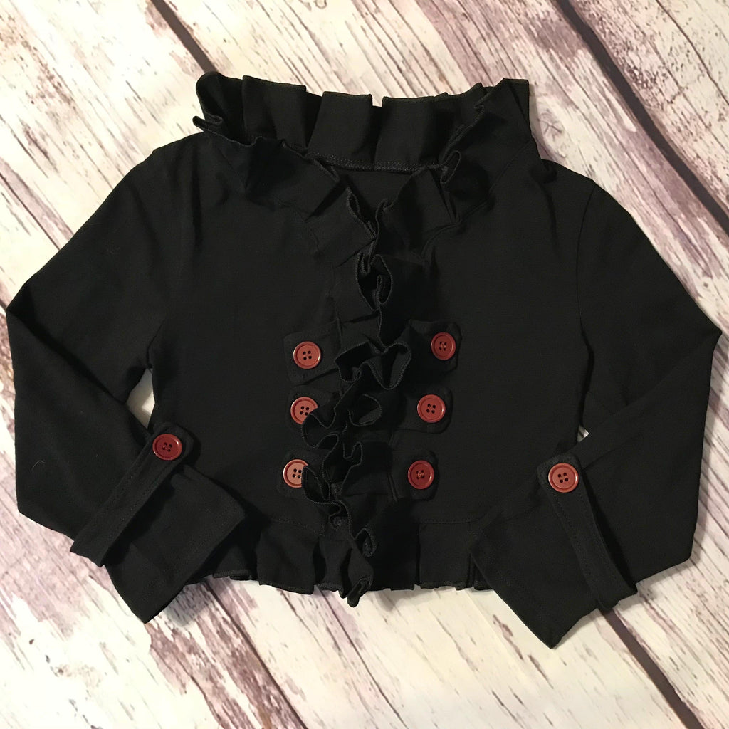 Black ruffle double breasted cropped cardigan