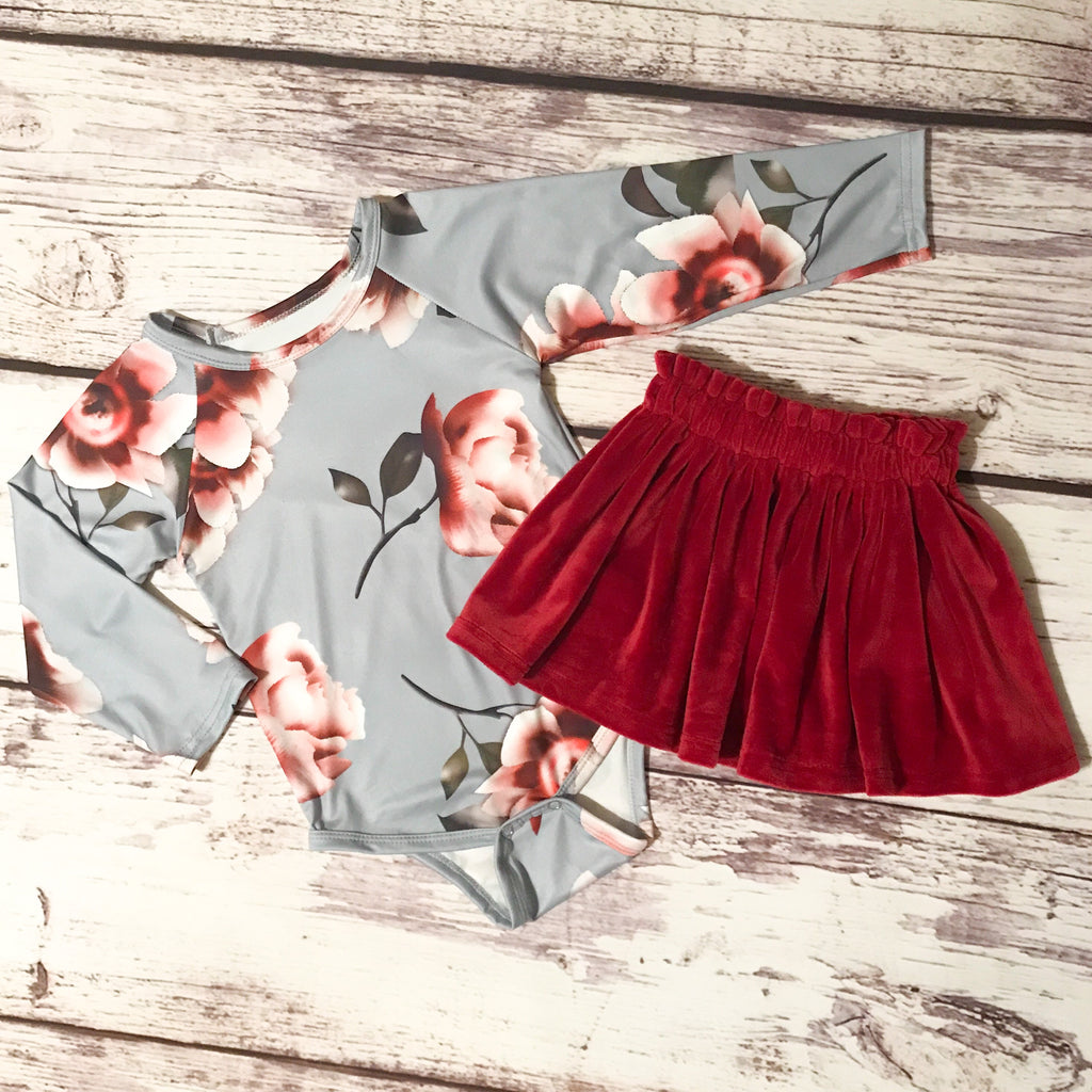The Brooklyn Floral Leotard & Velour Skirt in cabernet