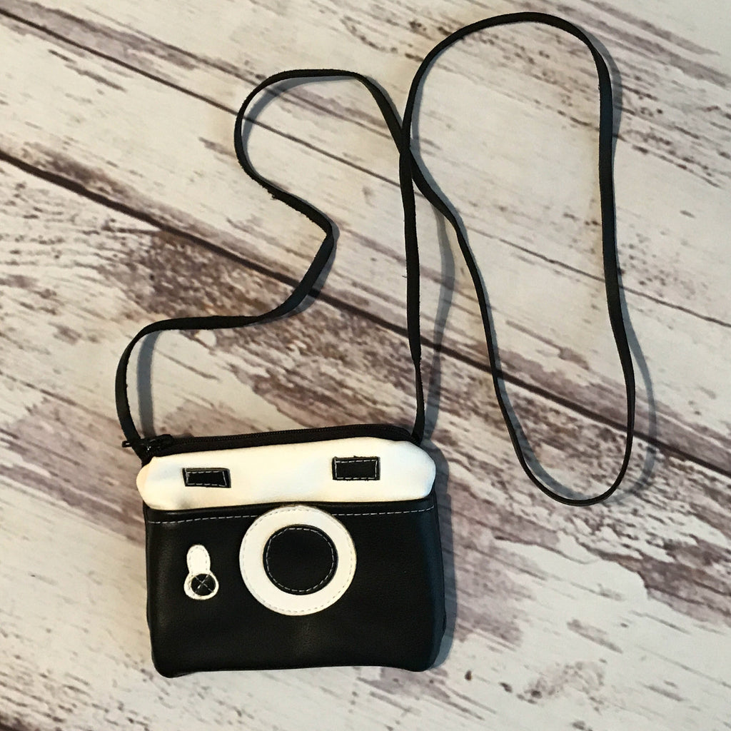 Shutterbug Vegan Leather Camera Crossbody Handbag