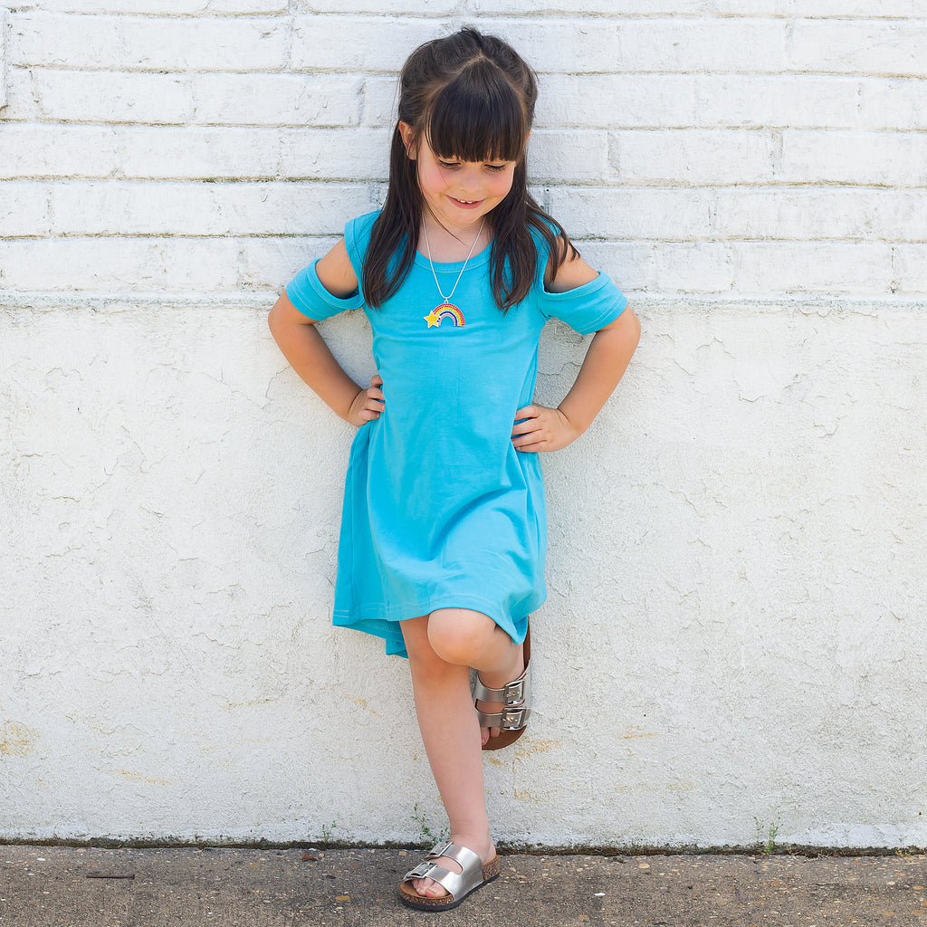 The Harper Cold Shoulder Dress in turquoise