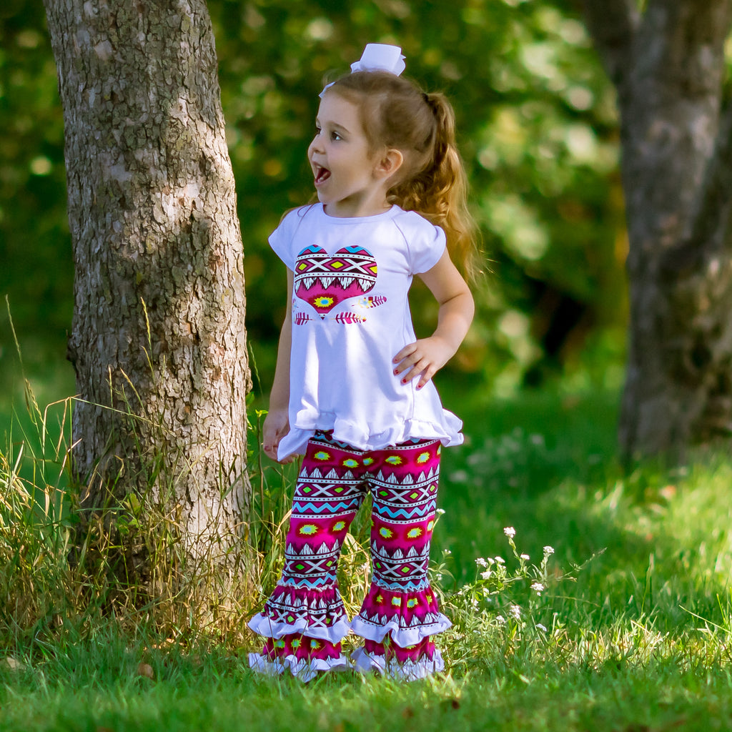 Neon Tribal Heart Tunic & Ruffle Pants