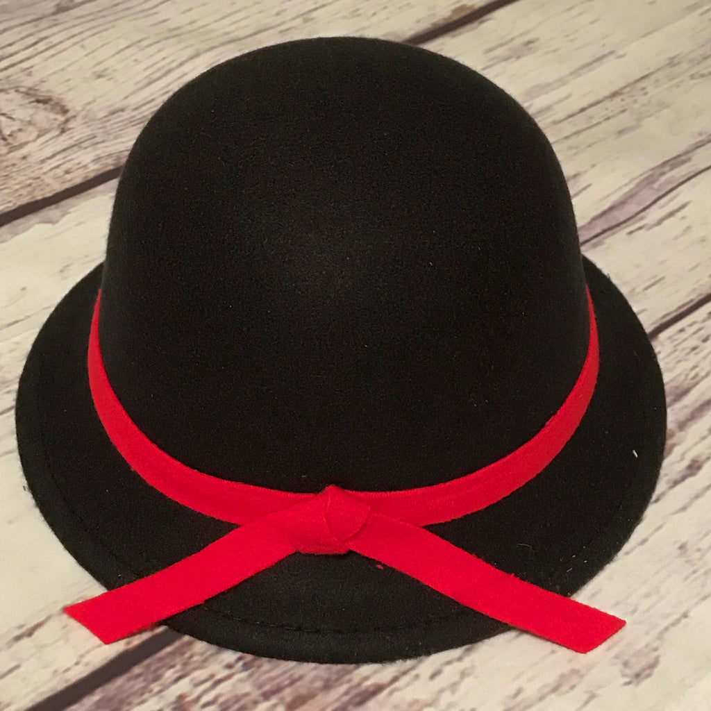 black with red trim cloche hat for little girls