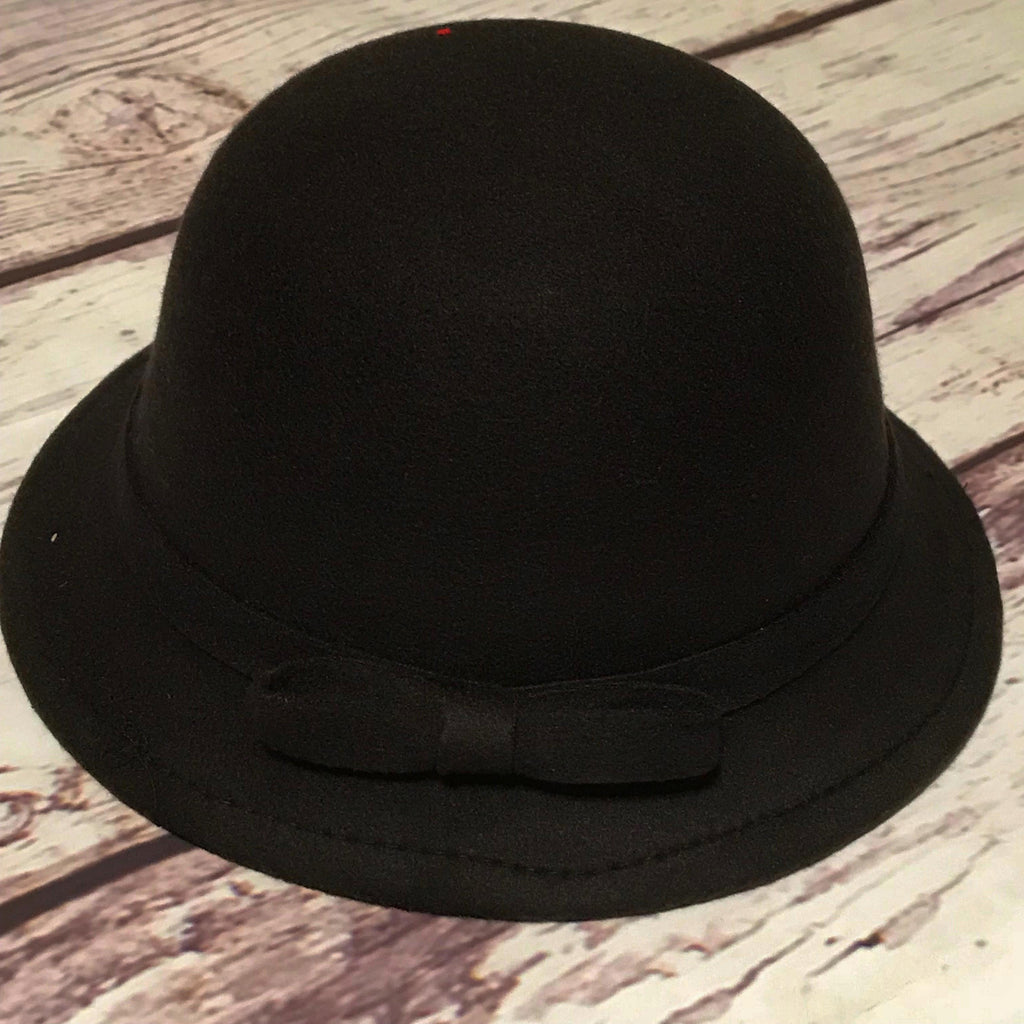 Black with black trim cloche hat for little girls