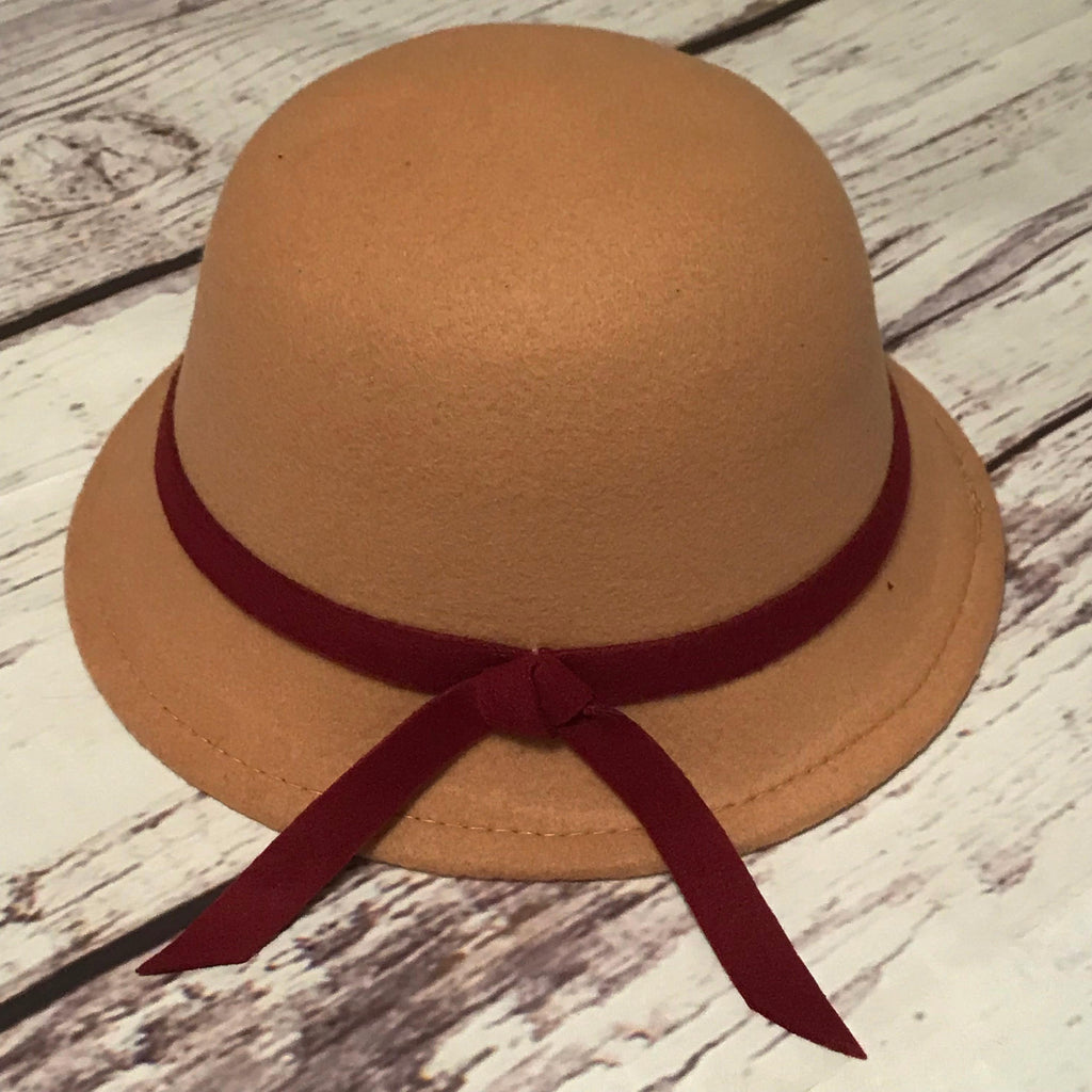 Camel with wine trim cloche hat for little girls