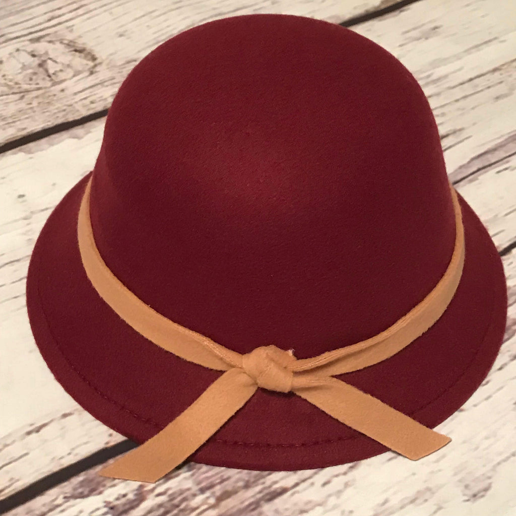Wine with camel trim cloche hat for little girls