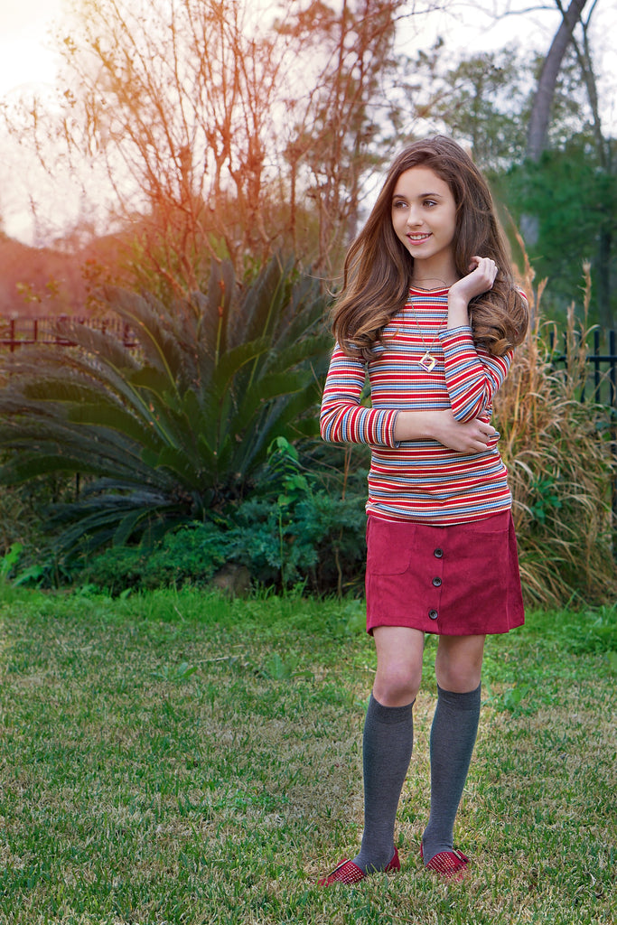 The Haisley Ribbed Knit Top & Corduroy Skirt in Burgundy