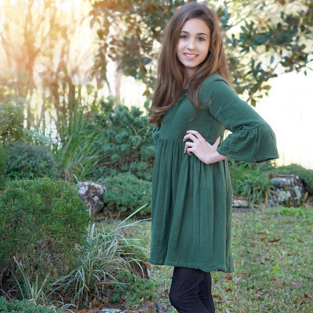 The Zoe Dress in Basil Green