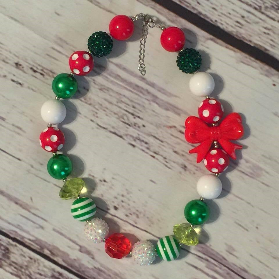 red, green, and white with red bow chunky bead necklace