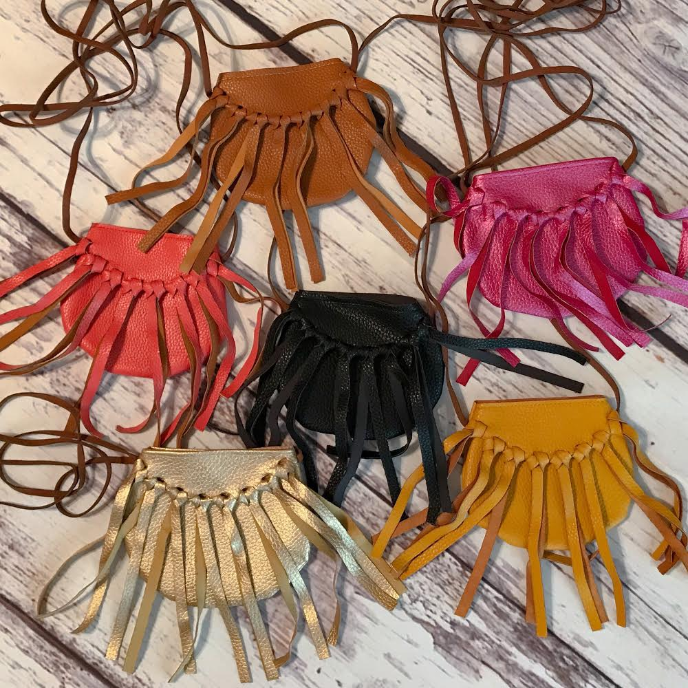 Collage of our faux leather fringe crossbody bags for little girls