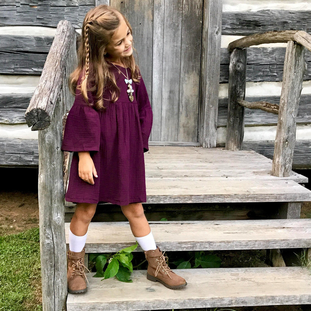 The Zoe Dress in Eggplant