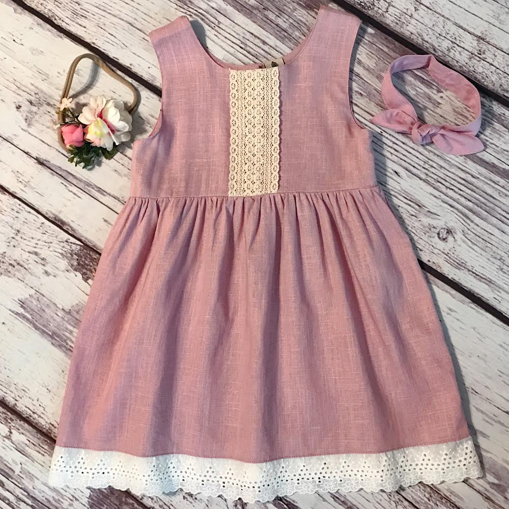 Boho style linen dress in dusty pink. Flower headband. Linen rabbit ear headband.