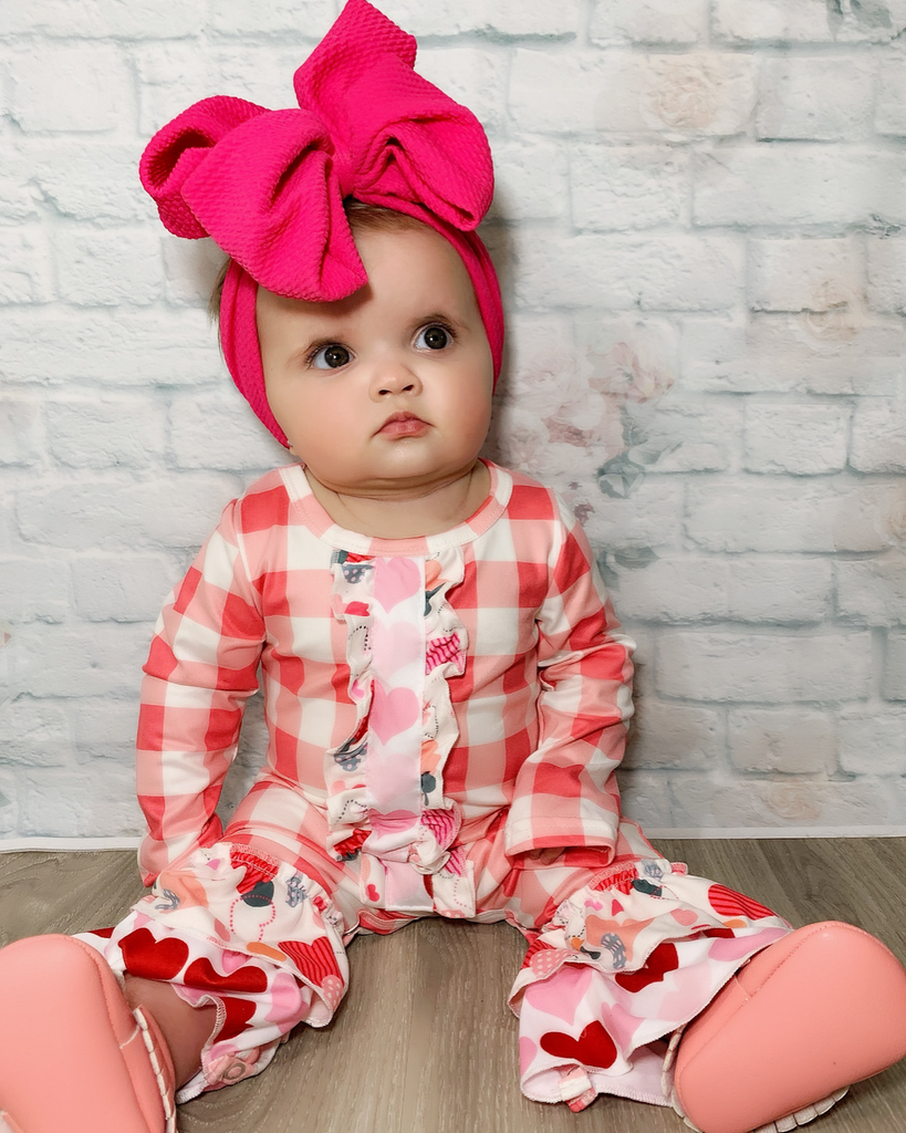 Valentine's Day Plaid & Hearts Romper