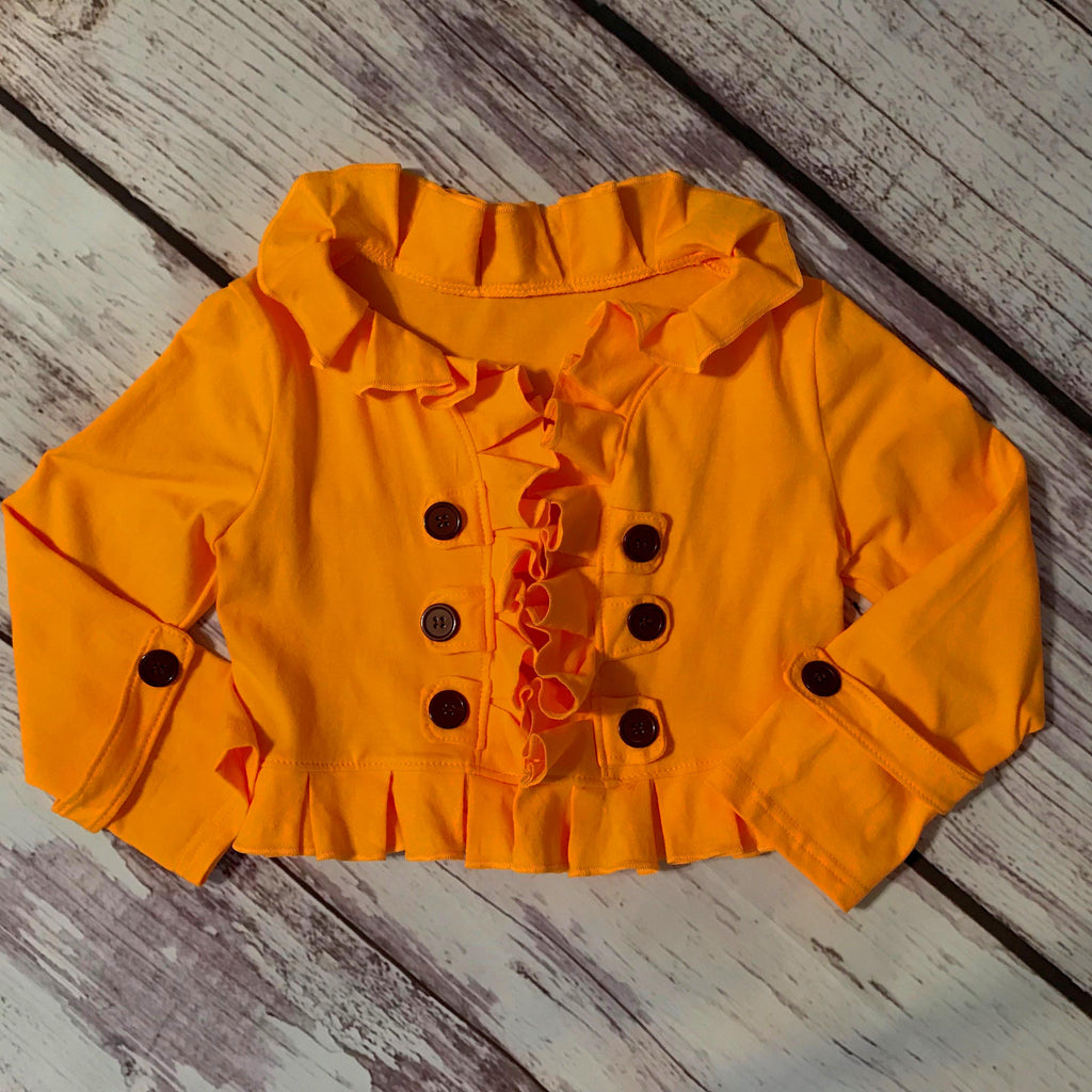Marigold orange ruffle double breasted cropped cardigan