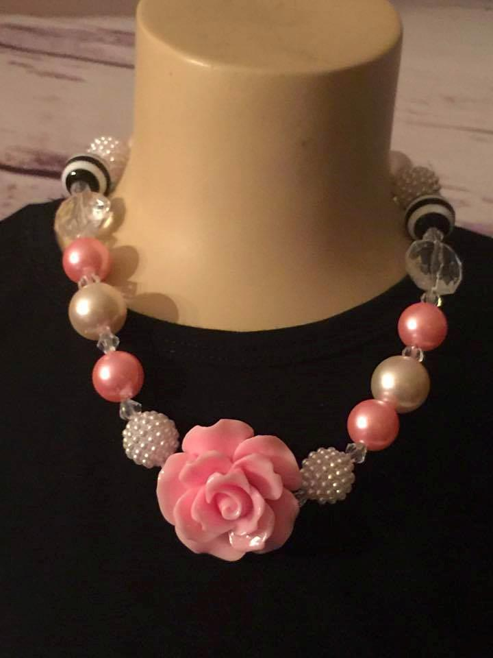Light pink, black/white striped, and pearls chunky bead necklace with pink rose