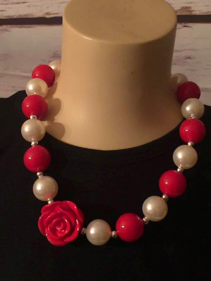 red beads and pearls chunky necklace with red rose