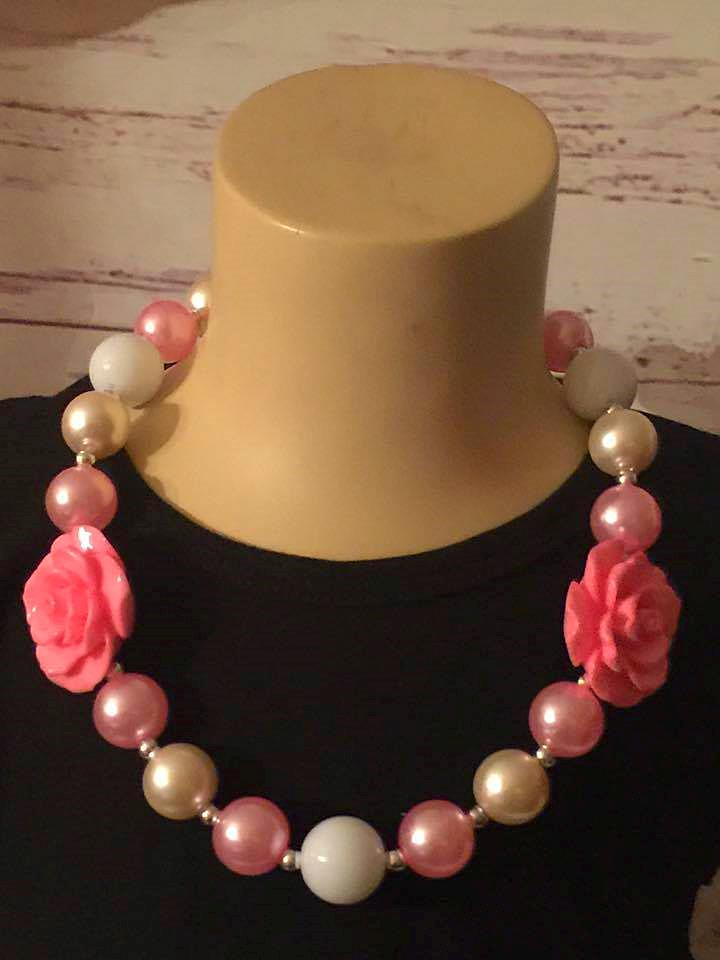 light pink and white chunky pearls with two pink roses necklaces