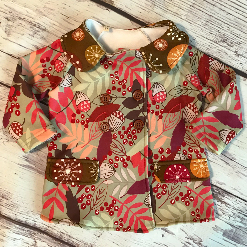 Polar fleece peacoat with Fall berries and leaves print