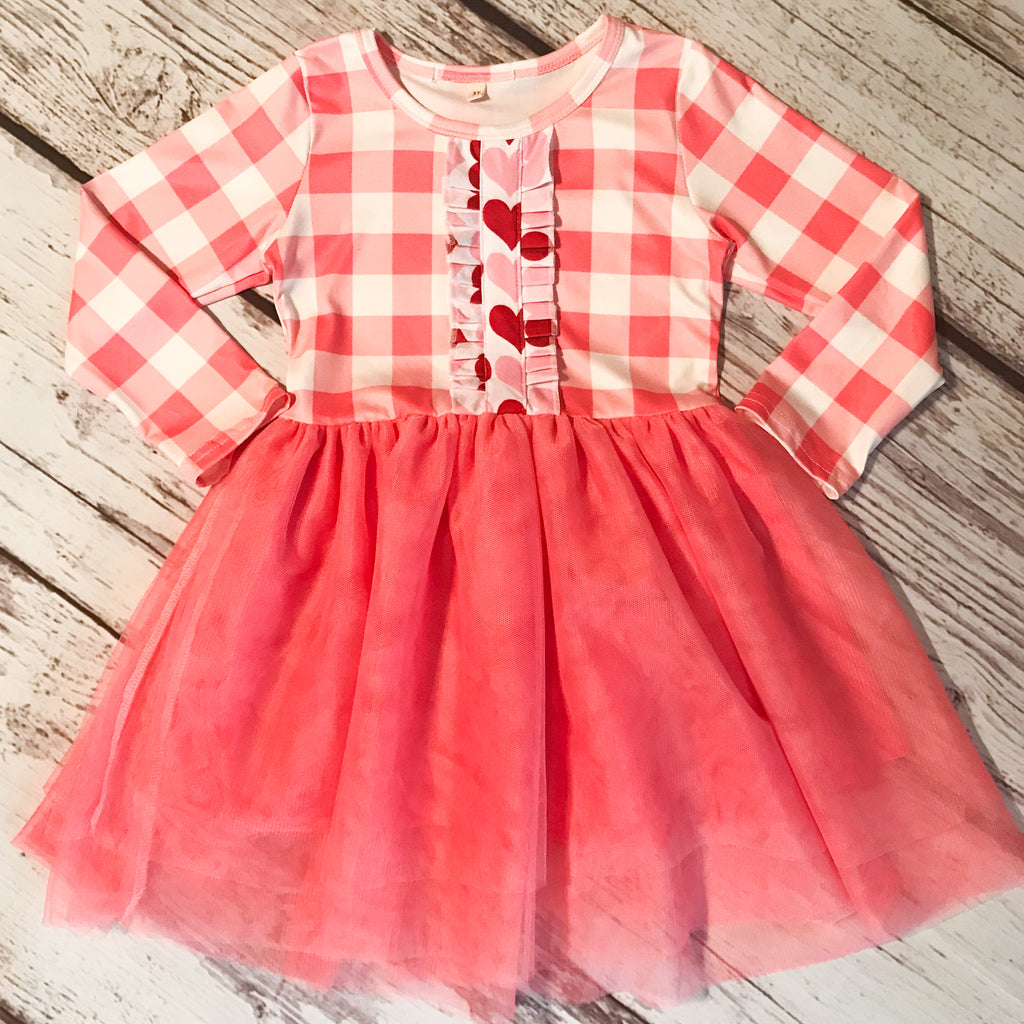 Valentine's Day Pink Plaid Tulle Dress
