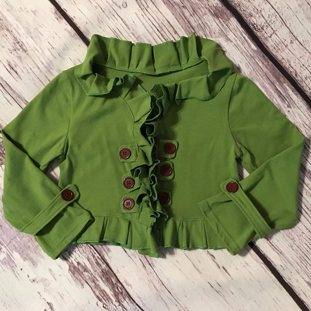 Olive green ruffle double breasted cropped cardigan