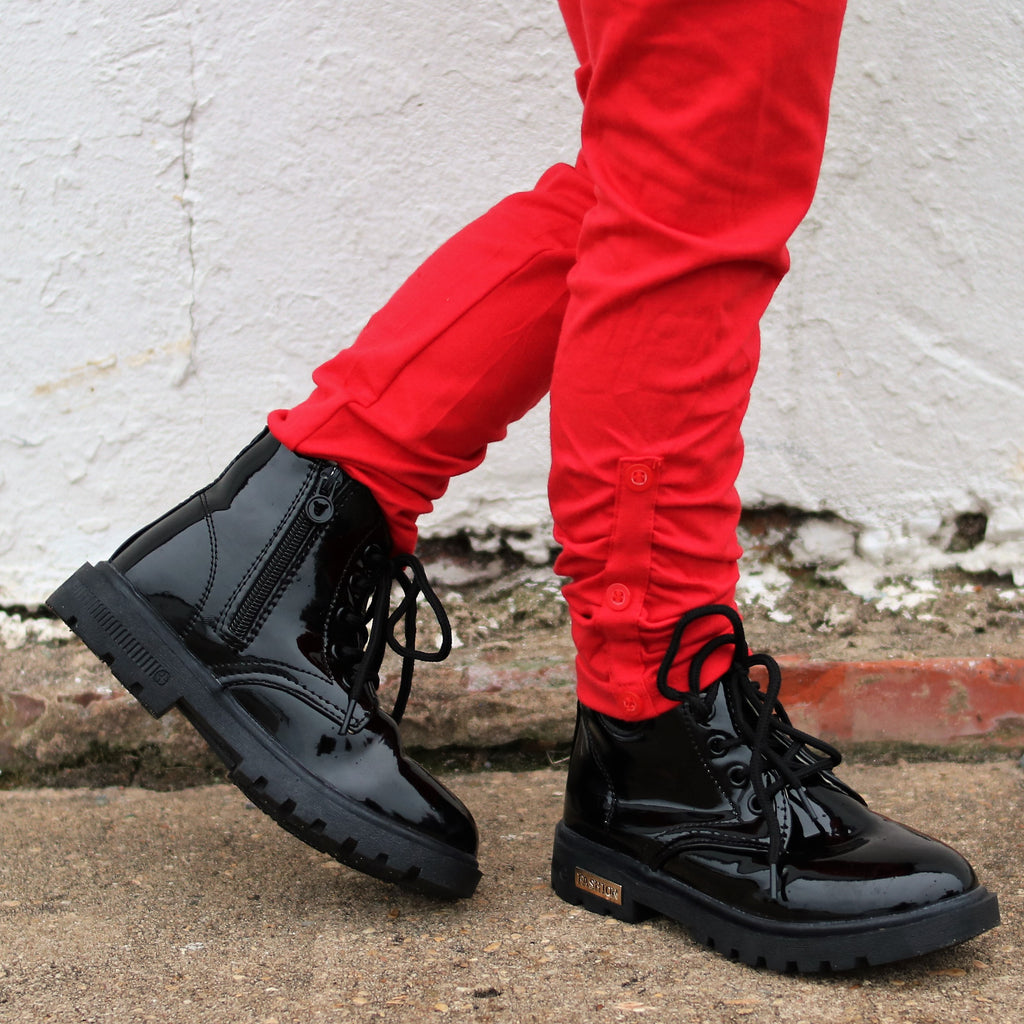 Vegan Patent Leather Lace Up Ankle Boots