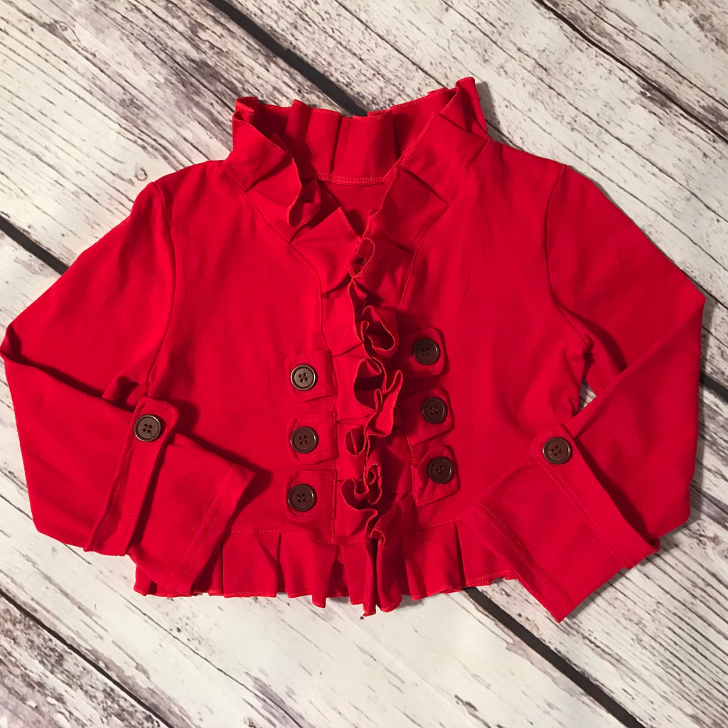 Red ruffle double breasted cropped cardigan