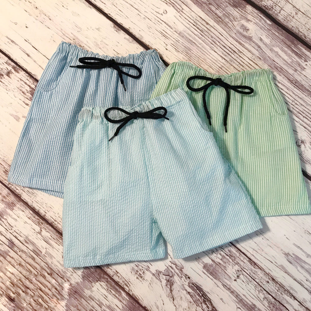 Boys' striped seersucker swim trunks/shorts with drawstring waist and pockets