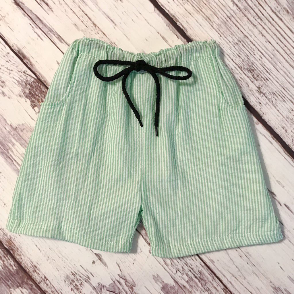 Boys' green striped seersucker swim trunks/shorts with drawstring waist and pockets