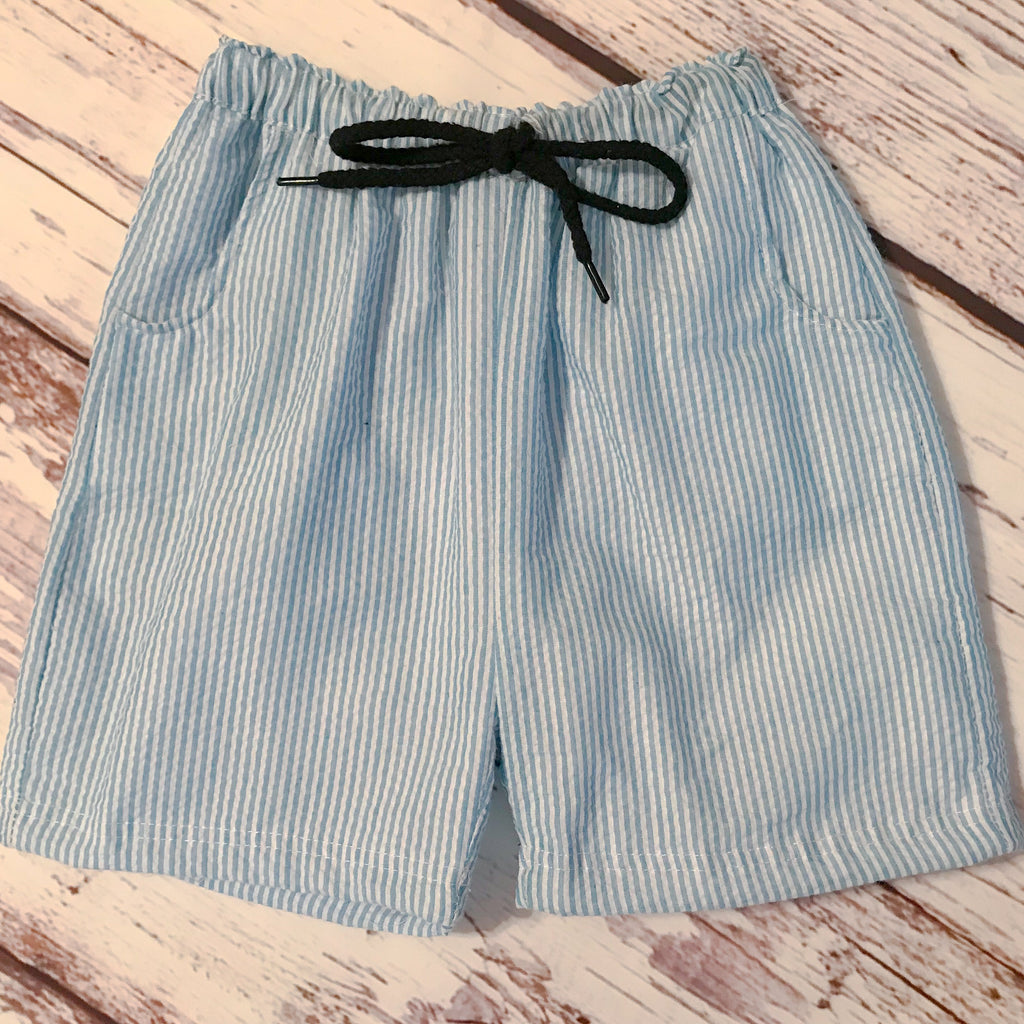 Boys' sea blue striped seersucker swim trunks/shorts with drawstring waist and pockets
