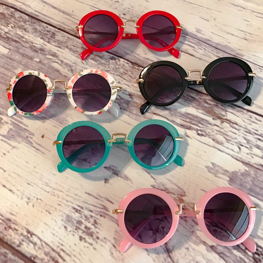 Collage of our round lens retro style kids sunglasses