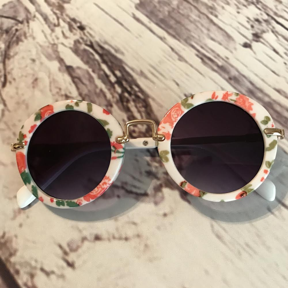 rose print retro kids sunglasses