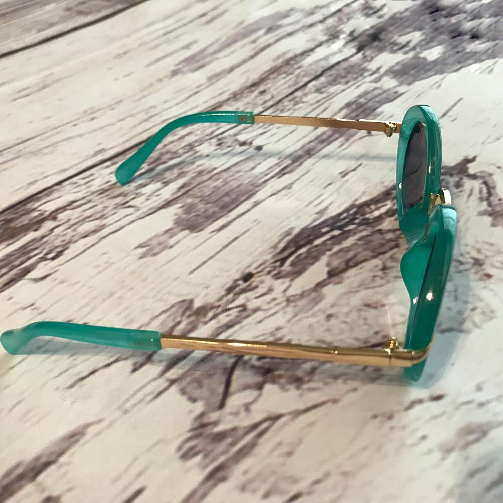 green sunglasses for kids, retro style, side view