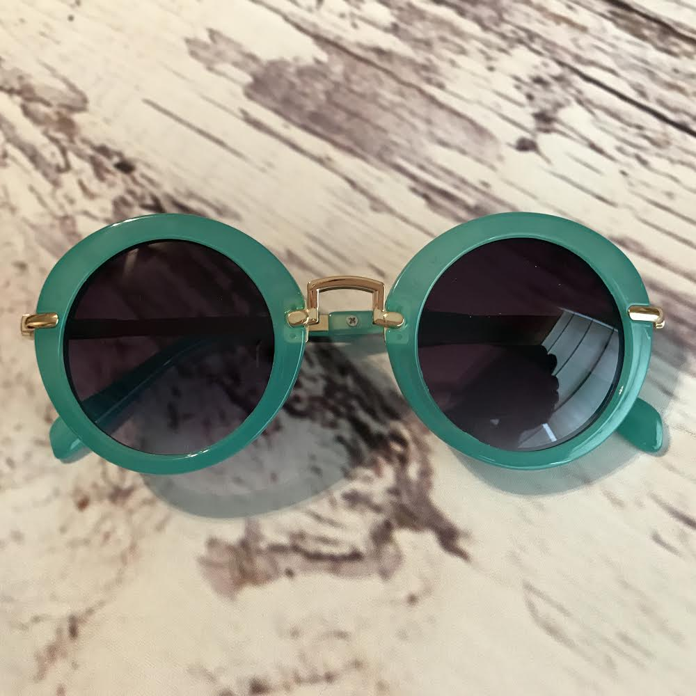 green sunglasses for kids, retro style