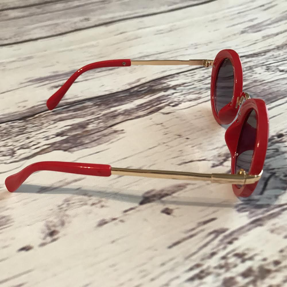 red sunglasses for kids, retro style - side view