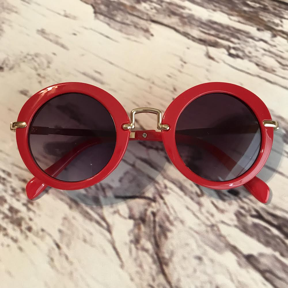 red sunglasses for kids, retro style