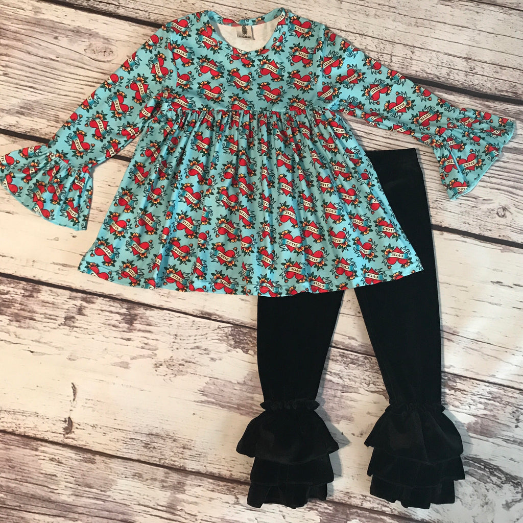 Sacred Heart Bell Sleeved Tunic with Black Velvet Ruffle Bell Leggings