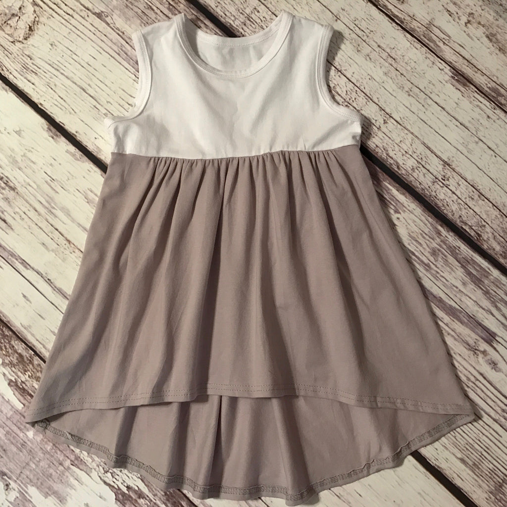 White & Gray Hi Lo Dress