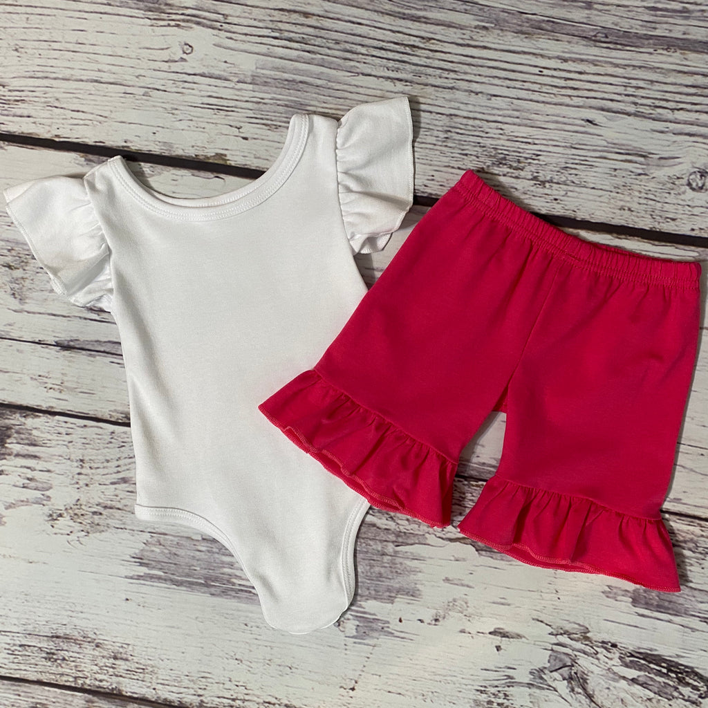 Solid White Flutter Sleeve Bodysuit & Solid Hot Pink Ruffle Shorts