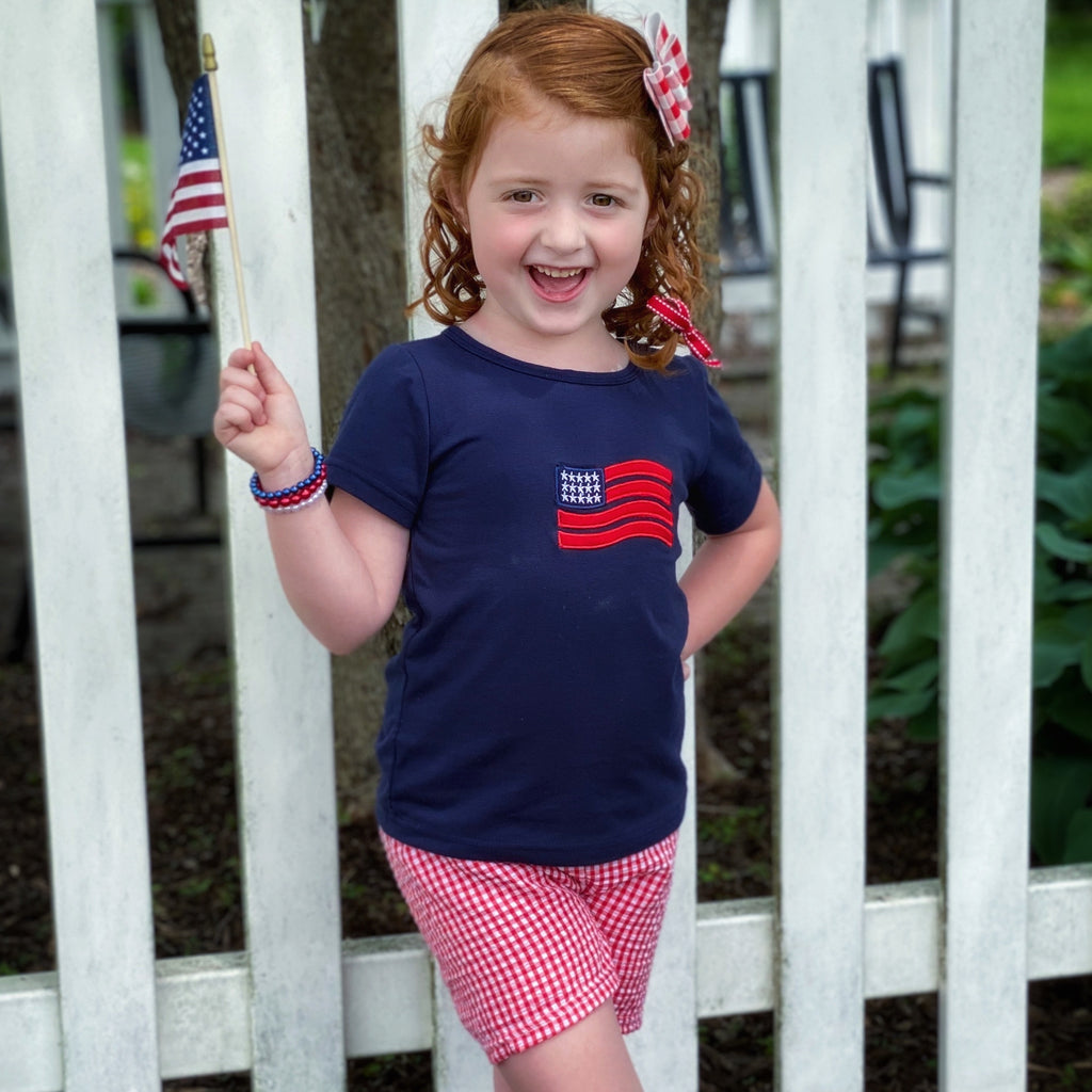 Navy Blue Flag Applique Tee Shirt with Gingham Seersucker Shorts