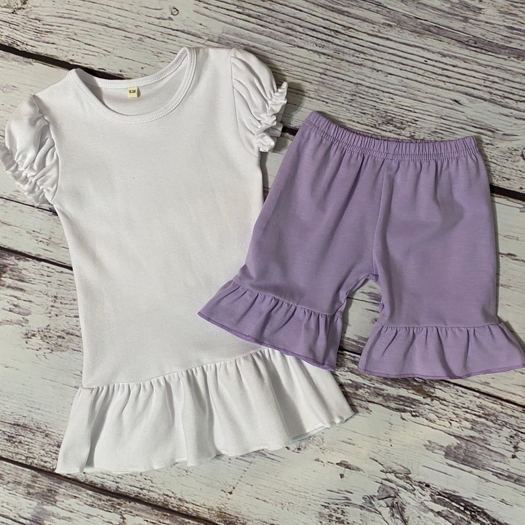 Solid White Ruffle Top & Solid Lavender Ruffle Shorts