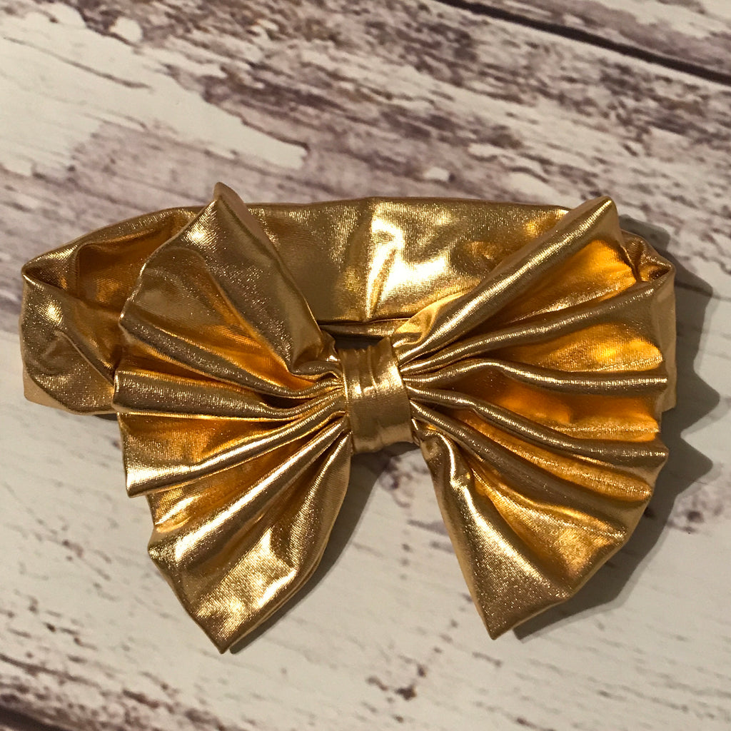 Metallic Gold Messy Bow Headband