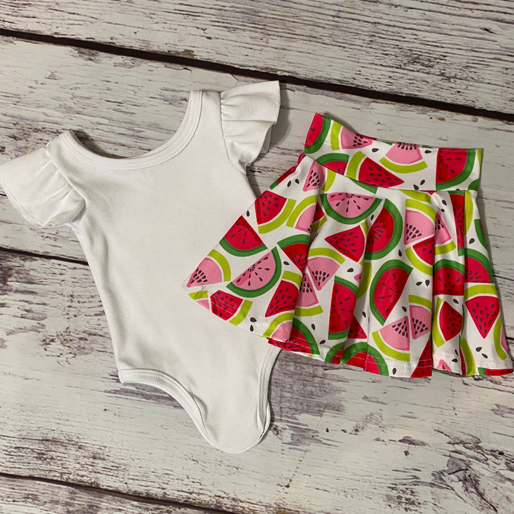 Wacky Watermelon Bodysuit & Skater Skirt